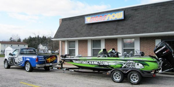 This boat wrap was created, printed and installed by Signs Now Hanover,
