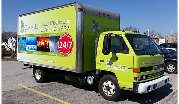 This previously white truck was given a full wrap to improve the trucks looks, advertise and create brand awareness for Care Property Services-Hanover, PA