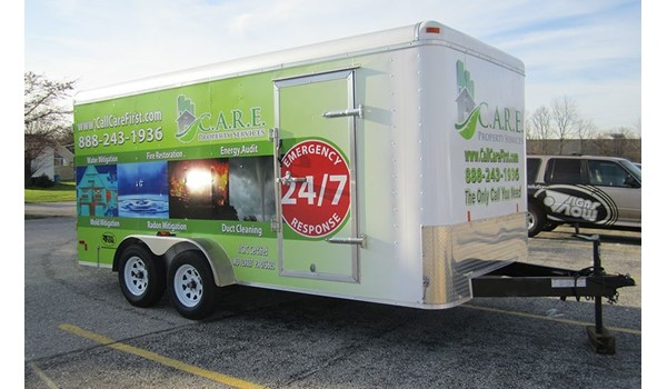 A full vehicle wrap transforms this trailer from plain white to eye catching.