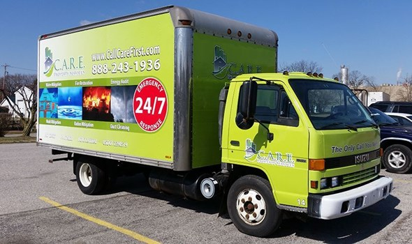 This previously white truck was given a full wrap to improve the trucks looks, advertise and create brand awareness for Care Property Services-Hanover, PA.